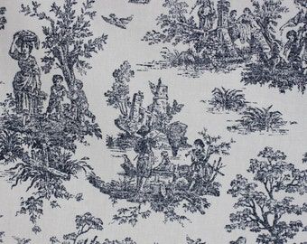 Toile Fabric, Jamestown Blue, For Drapery, Bedding, Upholstery, Wall Covering,