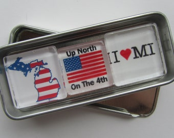 Up North Michigan, Michigan Magnets Set, July 4 Michigan, July 4th, Northwest Michigan Souvenir