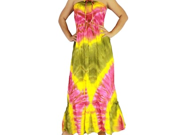 Off shoulder dress tie dye cotton 2 in 1 boho smock tube dress maxi summer sundress comfy beach casual dress long skirt (TD 80)