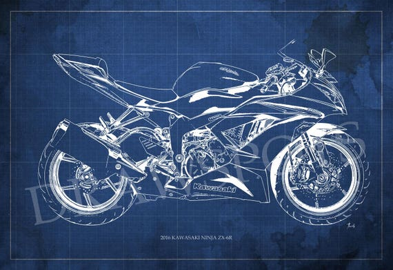 2016 kawasaki ninja zx 6r blueprint art print 8x12in to malvernweather Gallery