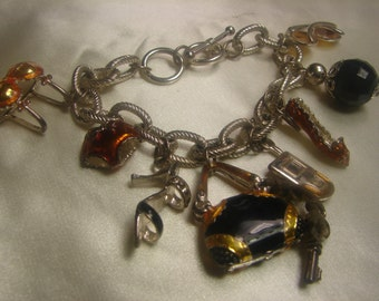 Large Charm Bracelet in Composite-72 grms- Toggle Close-8 large charms- 1591