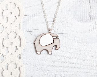 Gray Necklace Wood Elephant Kids Jewelry Wood Pendant Laser cut Necklace Girlfriend Gift Gray Elephant Many color variations
