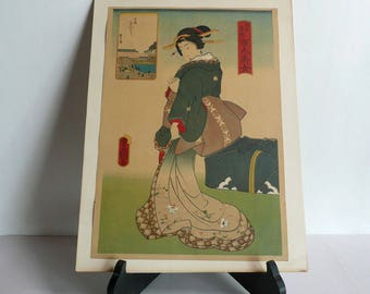 "Ukiyoe print - Japanese vintage - one of ""Famous Edo spots and a hundred beautiful women"" series by Toyokuni - WhatsForPudding #2231"
