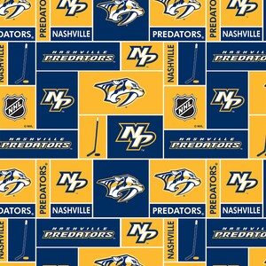 NHL licensed NASHVILLE PREDATORS Hockey 100% cotton fabric material you choose size for Crafts, Quilts, clothing and Home Decor