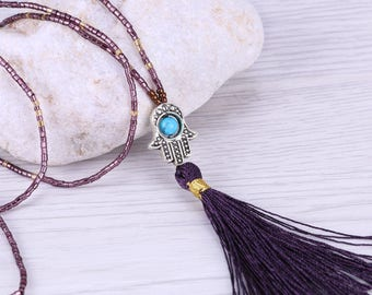 Hamsa Seed Beaded Necklace