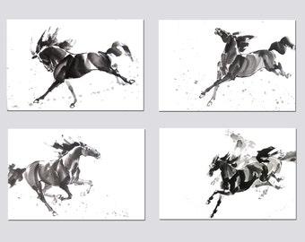 Horse Print - Horse Wall Art - Horse Decor - Watercolor Horse Painting Print - Black Horse - Wild Horse - Animals Print - Living Room Decor