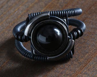 Black Ring, Steampunk jewelry, Black onyx ring