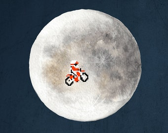 Video Game Art, Nintendo Art, Pixel Art, 8-Bit, 8-Bit Art, Excitebike, Motorcycle Art, Retro Video Game Art, E.T. Art, Nintendo Landscape