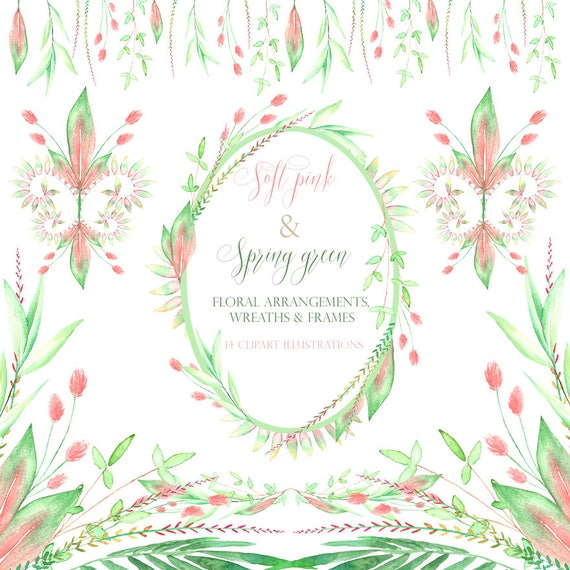 watercolor floral frames, wedding invitation, leaves, watercolor ...