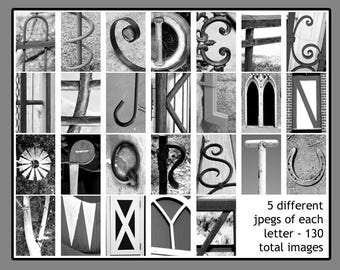 Letter Art DOWNLOAD - DIY Anniversary Birthday Wedding Shower Gifts - Nature and Architectural Letters