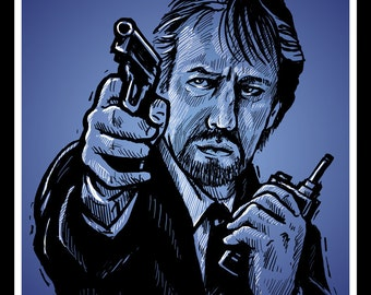 Die Hard Villain Hans Gruber - Alan Rickman Portrait Illustration - Archival Print