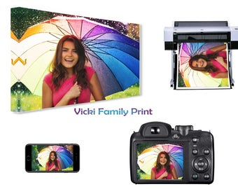 """Personalised A3 12"""" x 16"""" Canvas Print, your photo 18mm Frame, 280gsm family gift birthday"""