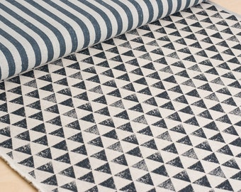 Echino | Japanese fabric - stripes and triangles in gray and black - 1/2 YD
