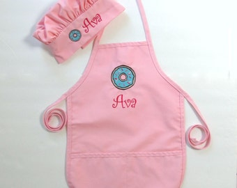 Kid's Apron AND Chef Hat - Childs Art Apron and Hat - Childrens Personalized Craft Apron and Chef Hat - Donut