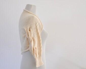 Cream Ivory Bridal Shrug Bolero Wedding Jacket Sweater Cardigan