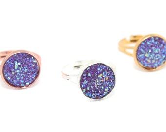 Druzy Ring, Purple Druzy, Purple Ring, Faux Druzy, Gift for Her, Druzy Jewellery, Birthday Gift, Best Friend Gift, Adjustable Druzy Ring
