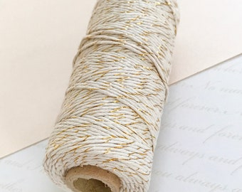 Baker's Twine, GOLD and WHITE Two-tone String 100 Metre Spool, Gold Twine, Striped String, Metallic twine, DIY Wedding decorations