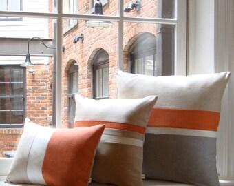 Orange & Gray Chambray Striped Colorblock Pillow Cover Set of 3 - Modern Home Decor by JillianReneDecor