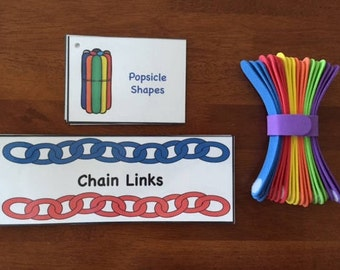 Preschool STEM Busy Bag: Shapes and Chain Links with Foam Popsicle Sticks