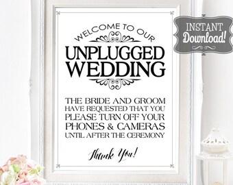 Unplugged Wedding Poster - INSTANT DOWNLOAD - Wedding Art, Wedding Decoration, No Social Media Sign, no cameras, no phones Sassaby Weddings