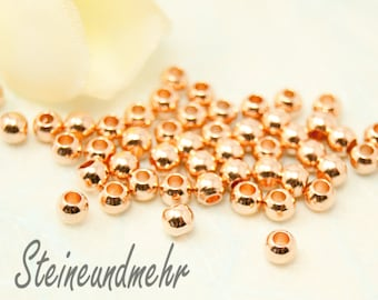 25x beads 3mm rose gold plated art. 1727