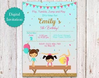 Printable Gymnastics Girl Birthday Party Invitation, Printable Gymnastic Girl Birthday Party Invite, Tumble Tumbling Birthday Invitation