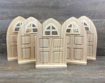 ON SALE! Fairy garden door craft, DIY set of 5 unfinished fairy garden door, tooth fairy door, Build your own fairy garden kit.