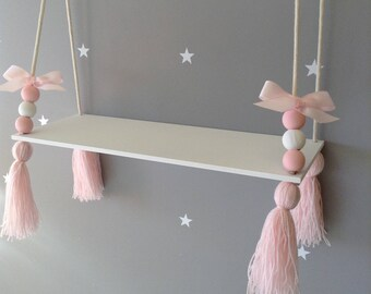Hanging Shelf Tassel Shelf Floating Shelf Nordic Style Shelf Nursery Decor  Nursery Shelf Girls Shelf Girls