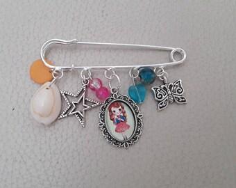Girly girls safety pin charm brooch