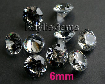 AAAAA 6mm Round Cubic Zirconia CZ Loose Stone Diamond Brilliant Cut - Diamond Clear - 8pcs