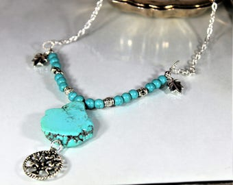 Turquoise necklace, Y necklace, pendant necklace, tree of life necklace, blue necklace, gift for mom, Valentine's day gift