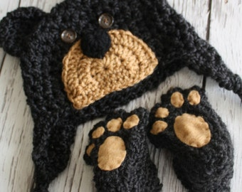 Bear Hat and Booties Set - Baby Shower Gift - Black Bear Hat and Booties - Brown Bear Hat and Booties - Baby Hat - by JoJo's Bootique