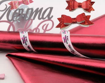 METALLIC Claret red -A4 or A5 Leather Fabric Material,  leather fabric synthetic- vinyl Fabric Material- DIY Hair Bows