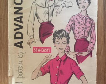 1950s Vintage Advance Blouse  Pattern 9157 Size 10 Bust 31 - NC - 1950s Advance / Puritan Collar / 50s Blouse Pattern / Peter Pan Collar