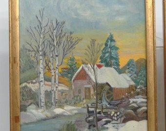 Painted original winter scene Hudson Valley NY