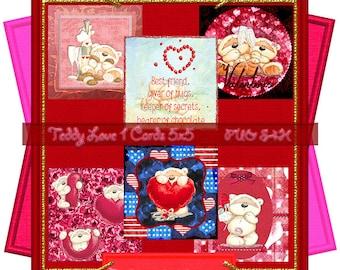Teddy Love 1 Q-Cards 5x5 (PU,S4H) Scrapbook