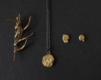 """24k Gold Plated Jewelry Set & Free Gift Wrap, 18"""" Pendant Chain Necklace, Gold Necklace, Minimalist Gold Earrings, Gold Jewelry Gift Set"""