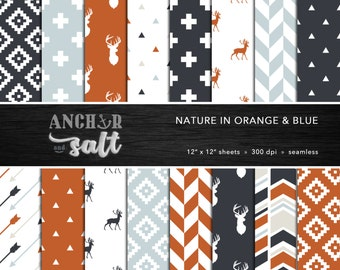 Nature Digital Paper Set -- Orange, Gray, Navy Blue, Aztec, Deer Paper, Arrows, Geometric, Scrapbook, Seamless -- Personal or Commercial Use