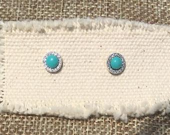 Turquoise gemstone earrings silver, gemstone stud earrings,Green Gemstone sterling silver post earrings, blue gemstone earrings,