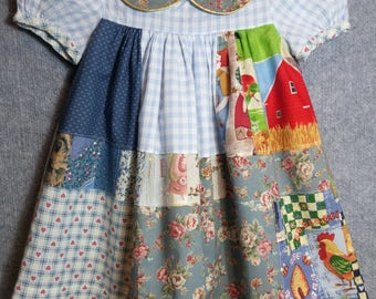 Little girls old-fashioned patchwork dress