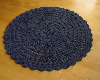 "Dark blue round crocheted rug ""Flower"""