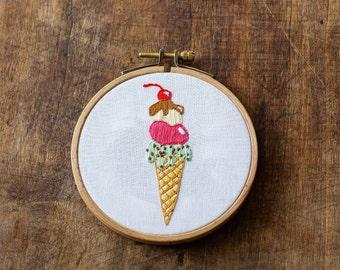 Embroidery - Ice cream cone