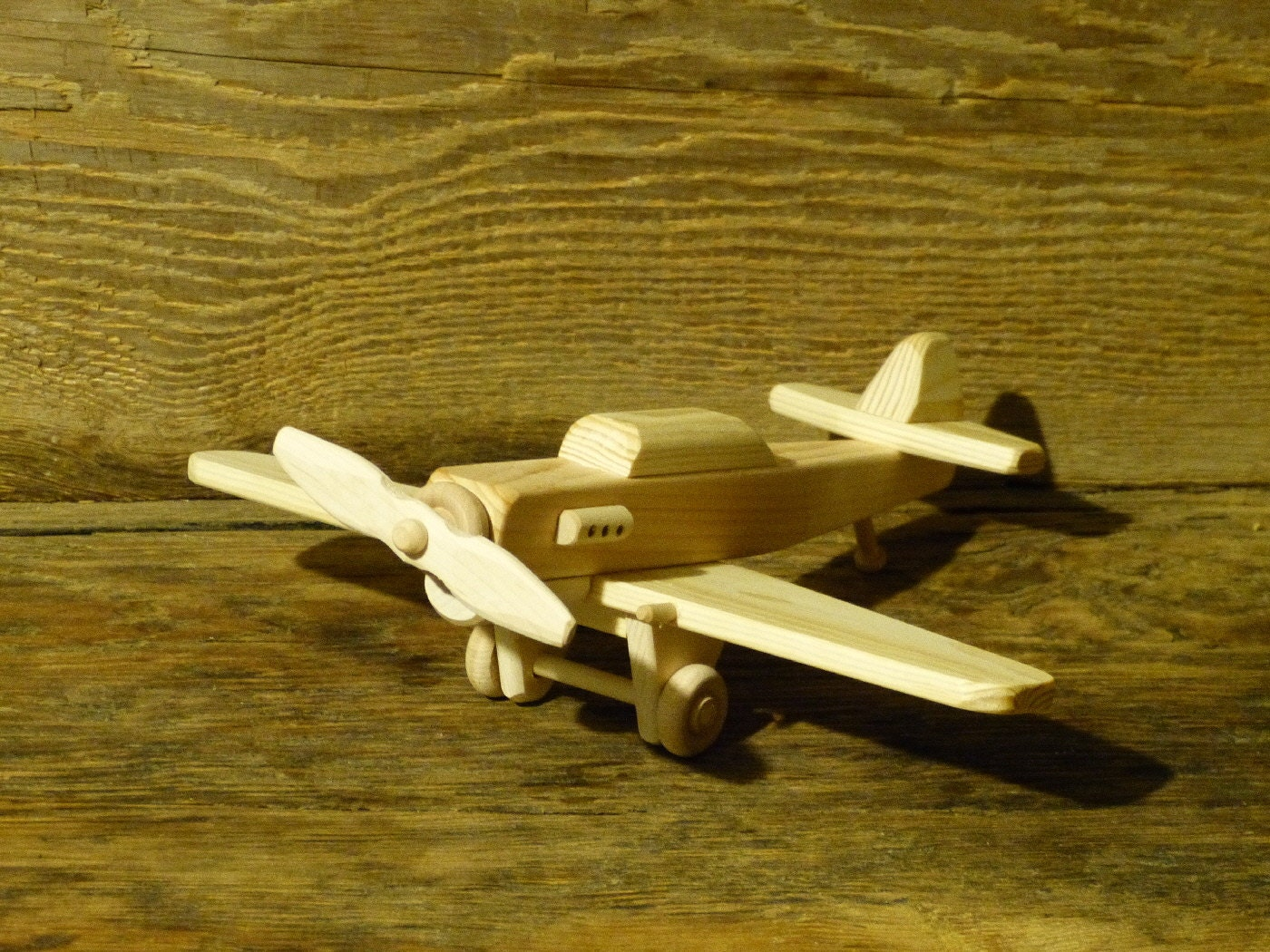 Handmade Wood Toy Fighter Plane P-40 World War 2 Airplane