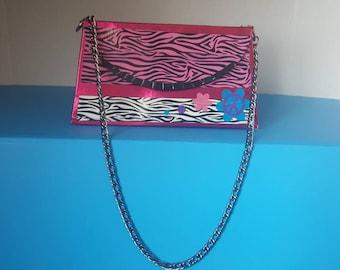 Girls Pink & White Zebra Stripe Duct Tape Purse