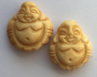 2 Carved Bone Laughing Buddha Beads 22x20mm, package of 2