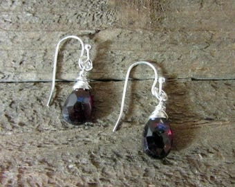 Dainty Sterling Silver & Red Garnet Drop Earring, Simple Earring