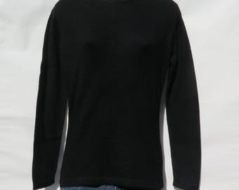 100% Cashmere|Ladies 2 Ply Knit Sweater|Himalayan|Crew Neck Style|Black|Size: S | 8164