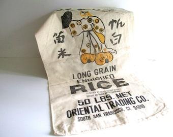 Vintage Muslin Rice Sack, 50 LBS. Mikado Brand Rice, Geisha, San Francisco, Bright Graphics Black Orange Graphics Craft Supply NOS
