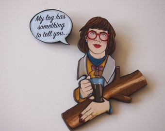 Twin Peaks The Log Lady - 2 Part Laser Cut Wood Brooches