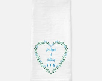 Personalized Tea Towel Custom Wedding Gift Custom Housewarming Gift Flour Sack Towel  Bridal Shower Gift Valentines Day Anniversary Gift